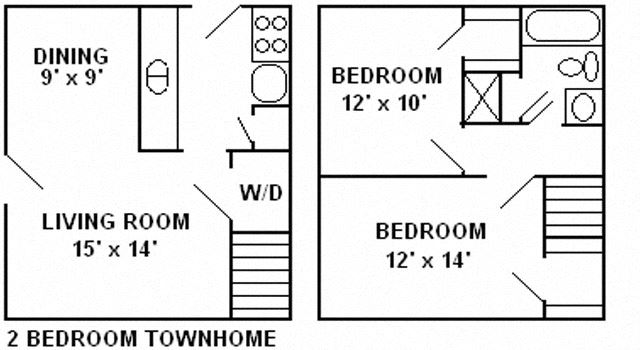 2 bedroom, 1 Bath Townhome