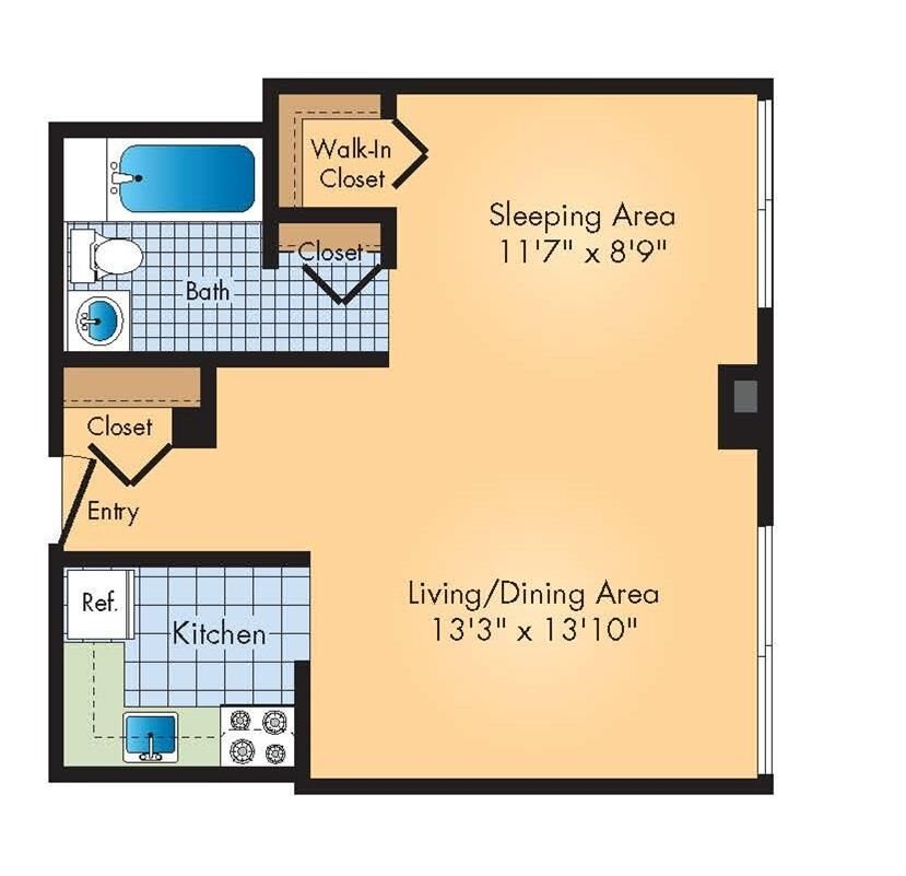 Studio / 1ba Floor Plan 1