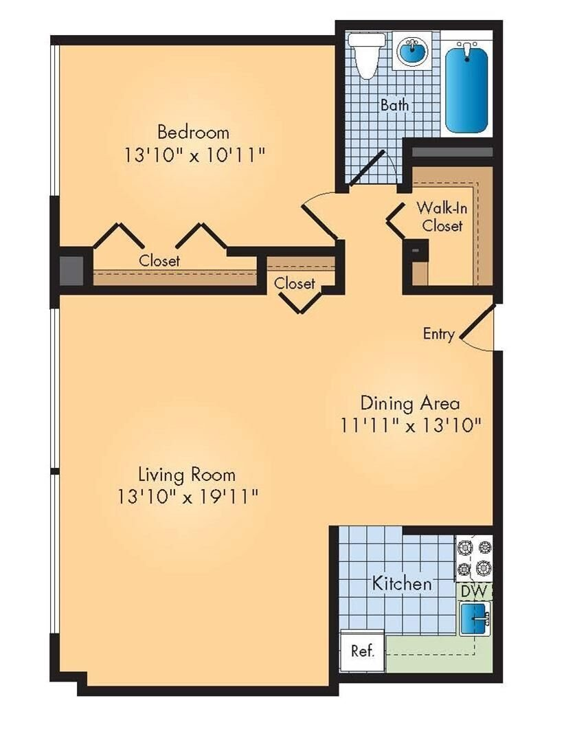1bd / 1ba Floor Plan 2