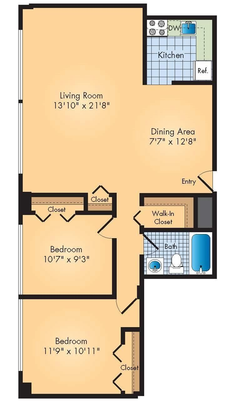 2bd / 1ba Floor Plan 3
