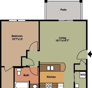 1 Bedroom, 1 Bathroom Floor Plan 3