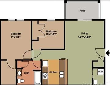 2 Bedroom, 1 Bathroom Floor Plan 2