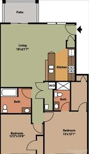 2 Bedroom, 2 Bathroom Floor Plan 1