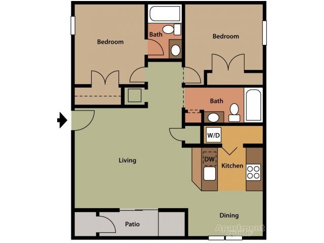 A two-bedroom, two-bathroom floor plan blueprint at Crystal Lake Apartments in Pensacola, FL