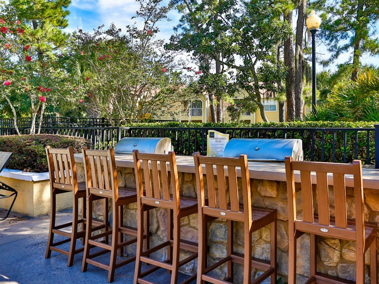 Poolside Sundeck And Grilling Area at The Adelaide, Orlando, Florida