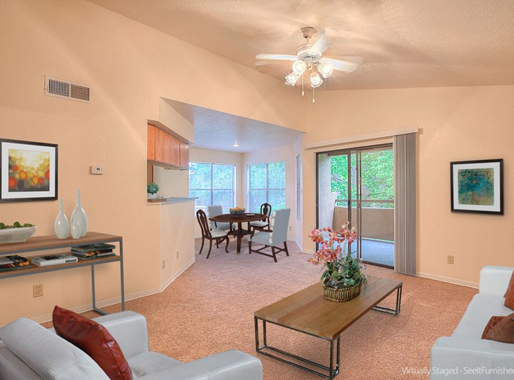 Living Rooms With Ceiling Fan at The Overlook Apartments, 6200 Eubank Blvd NE, NM