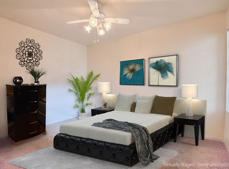 Spacious Bedrooms with Attached Over sized Windows at The Overlook Apartments, Albuquerque, New Mexico