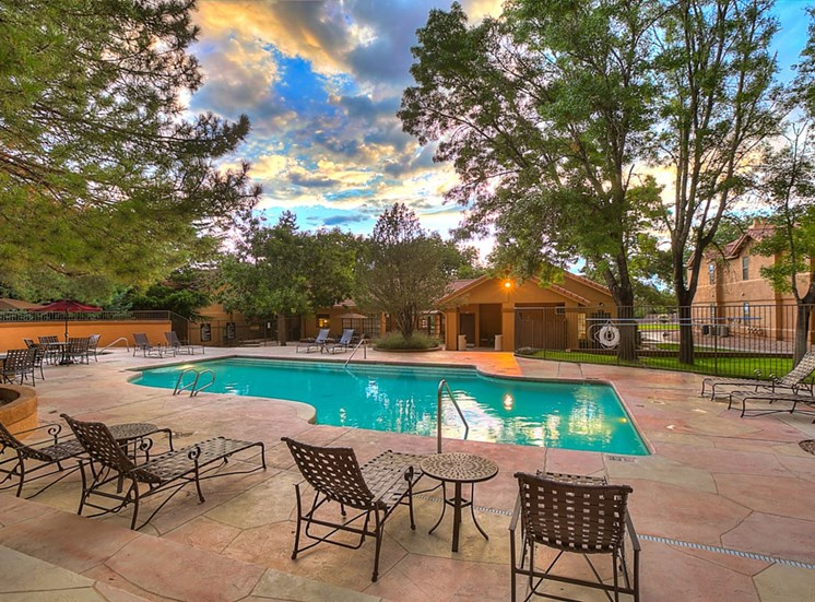 Swimming Pool with Lounge Chairs at The Overlook Apartments, New Mexico, 87111