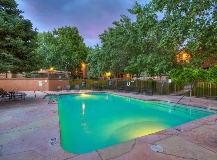 Swimming Pool with Lounge Chairs at The Overlook Apartments, Albuquerque, NM