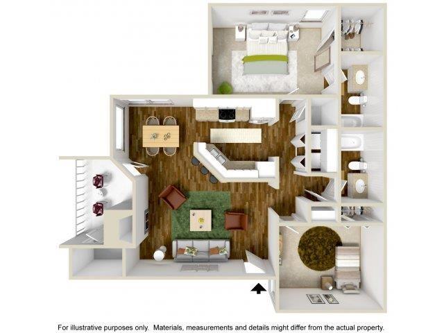 Floorplan at The Overlook Apartments, Albuquerque, NM