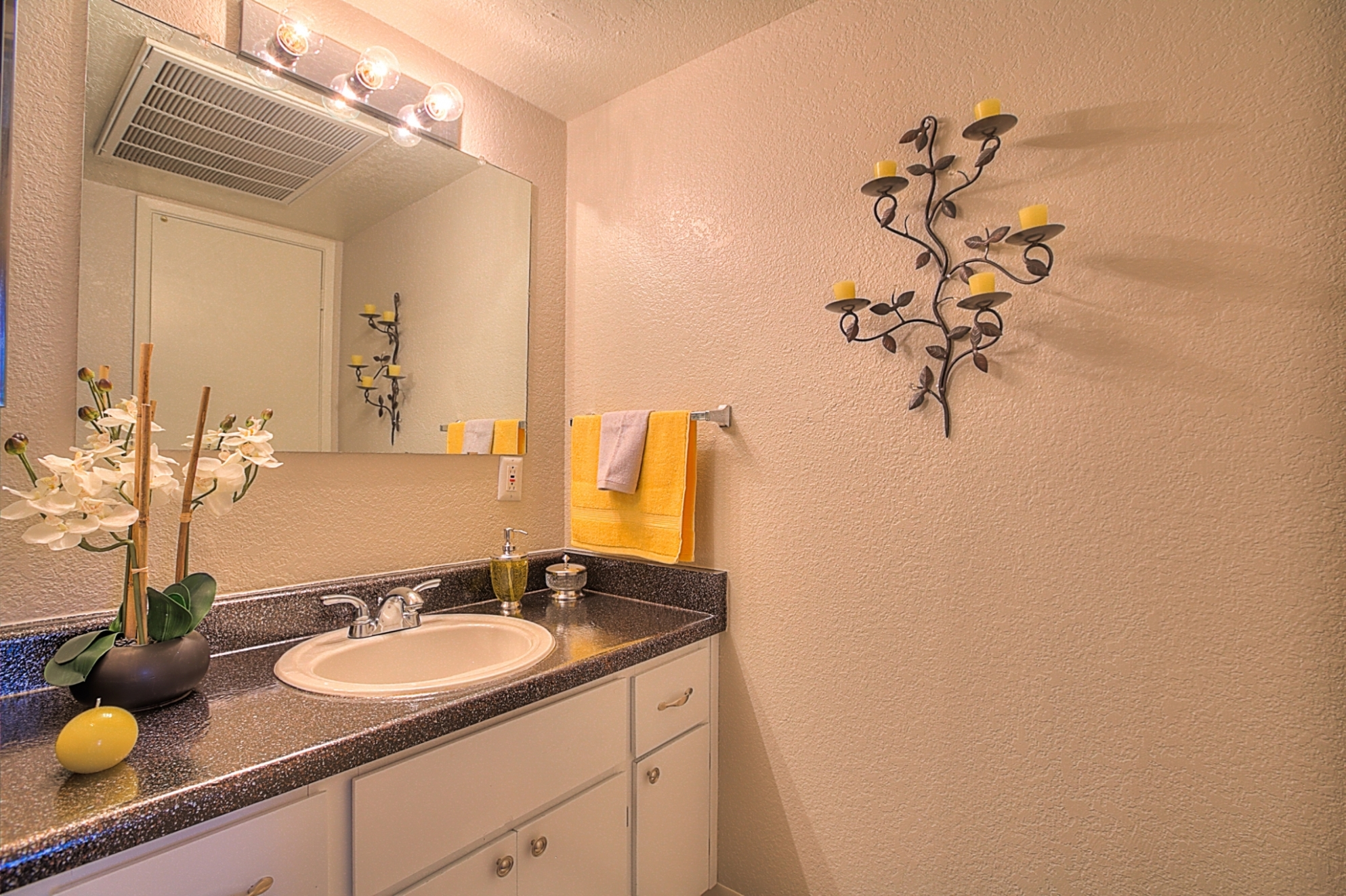 Solid Cultured Marble Bathroom Counter Tops at Eagle Pointe Apartments, Albuquerque, NM