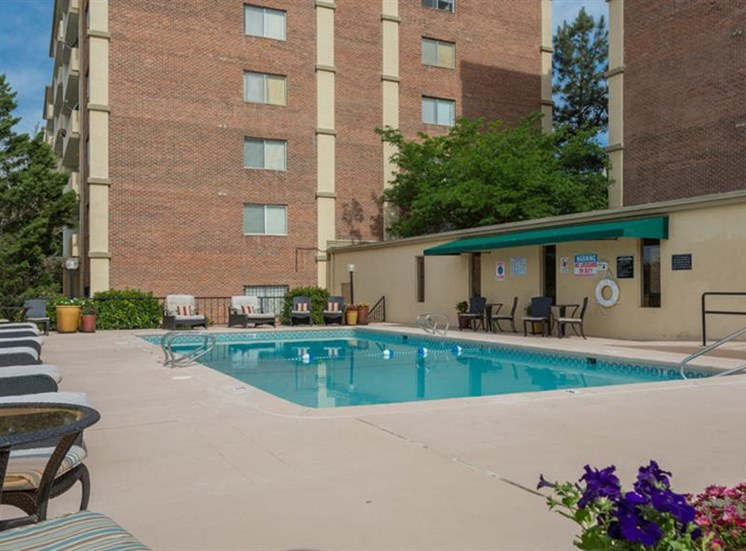 Pool Side Relaxing Area at The Towers Apartments, 5404 Montgomery Boulevard NE