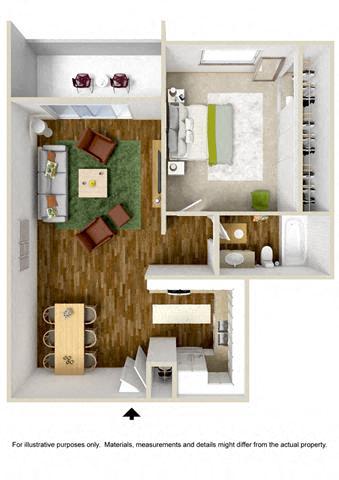 Floorplan at The Towers Apartments, 5404 Montgomery Boulevard NE, NM