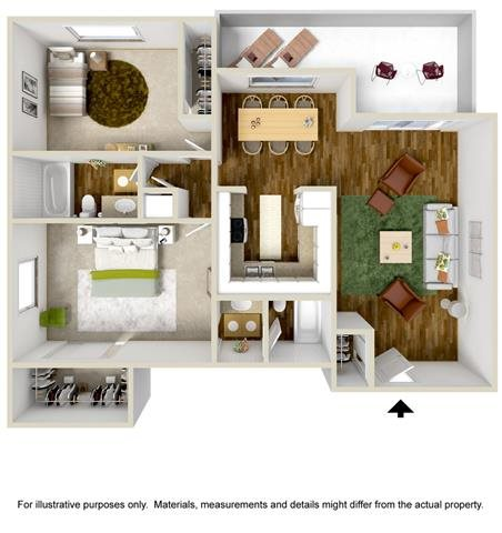 Floorplan at The Towers Apartments, Albuquerque, New Mexico