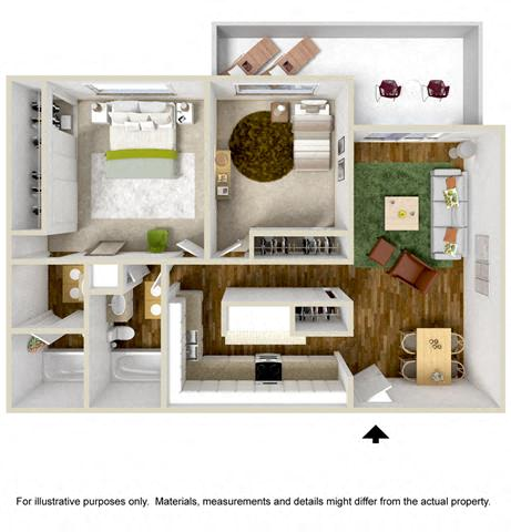 Floorplan at The Towers Apartments, NM, 87109