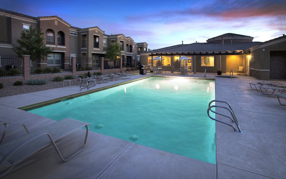 Lighted Sparkling Swimming Pool At Cantata The Trails Apartments Albuquerque 87114