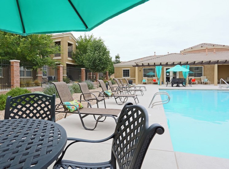 Swimming Pool with Lounge Chairs at Cantata at the Trails Apartments, NM, 87114