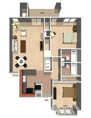 Belmont Floor Plan at Lexington Farms Apartment Homes in Raleigh, North Carolina, NC