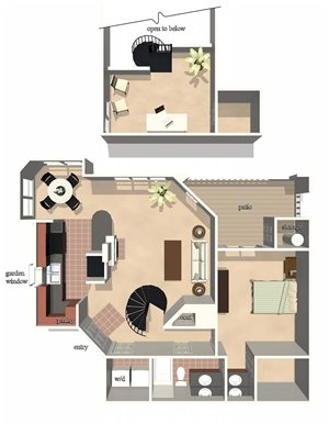 Preakness Floor Plan at Lexington Farms Apartment Homes in Raleigh, North Carolina, NC