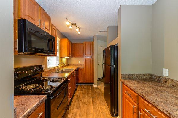 Black Appliances at Lexington Farms Apartment Homes in Raleigh, North Carolina, NC