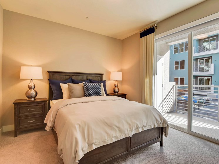 One Bedroom Apartments in Las Vegas NV -The Mercer Bedroom With Beautiful Decor and Patio Access