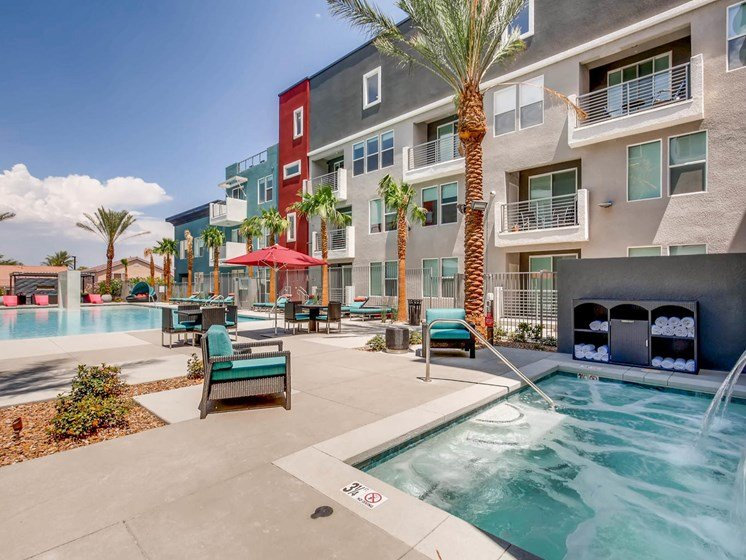 Las Vegas NV Apartments for Rent -The Mercer Resort Style Pool With Seating