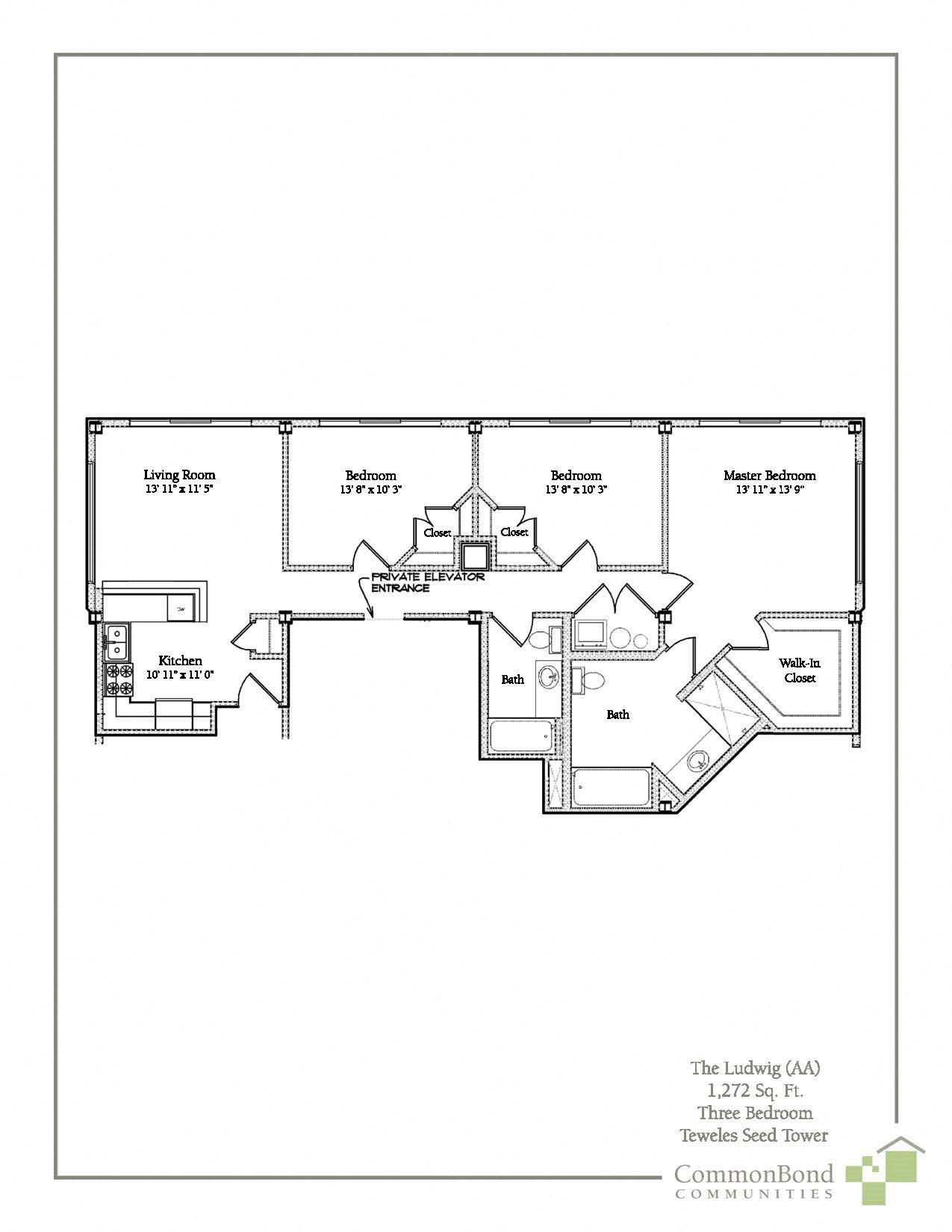 3 BR Floor Plan 8