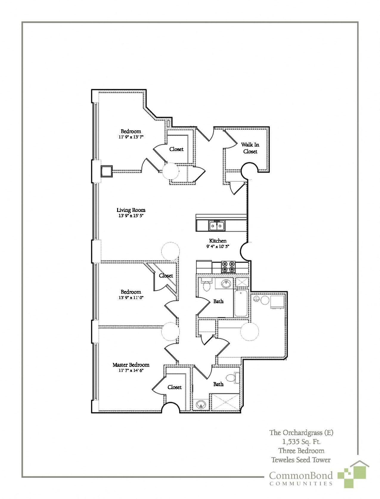 3 BR Floor Plan 7