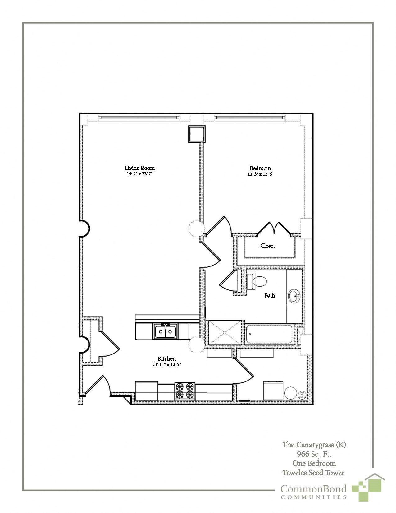 1BR Floor Plan 3