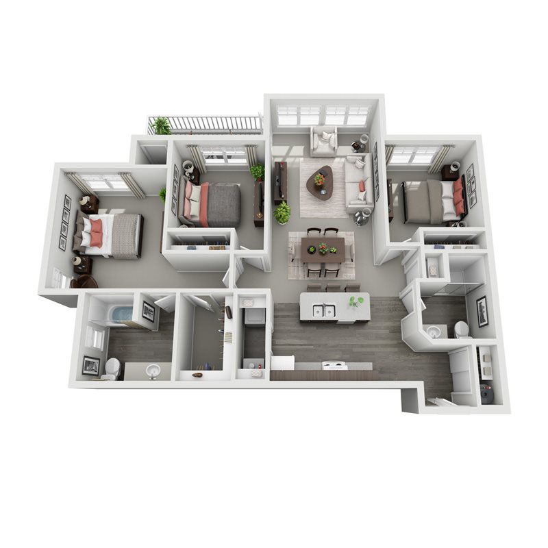 3D floorplan for Hemlock three bedroom two bath