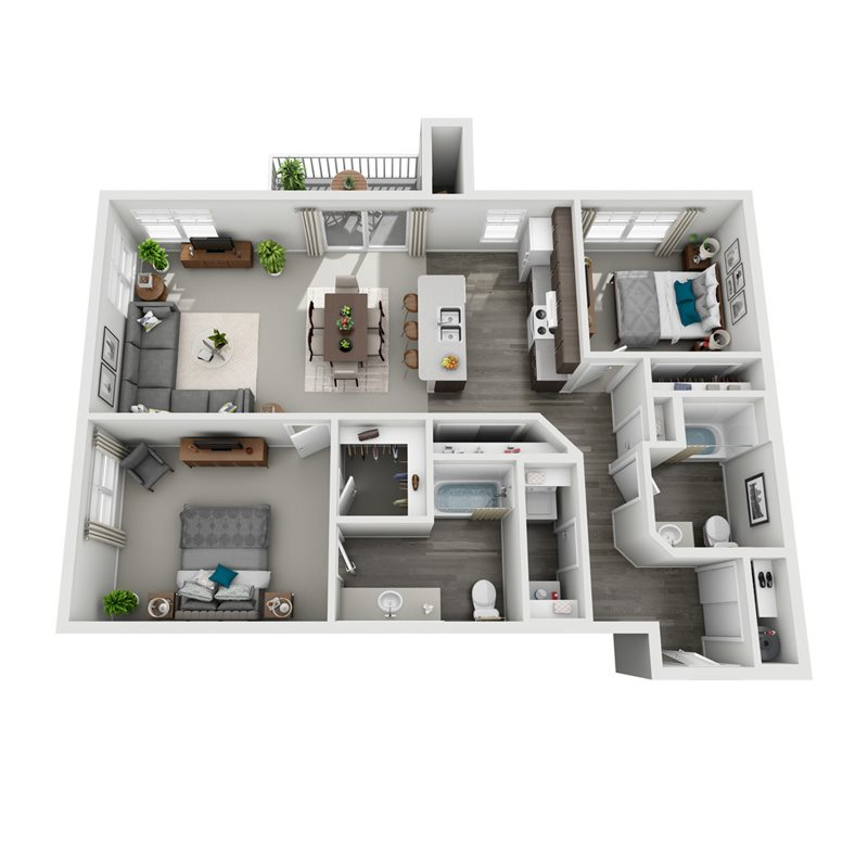 3D floorplan for Sitka two bedroom two bath