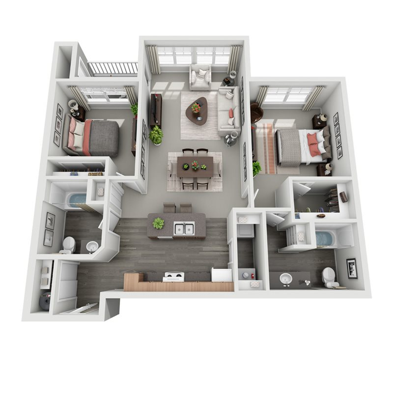 3D floorplan for Spruce two bedroom two bath