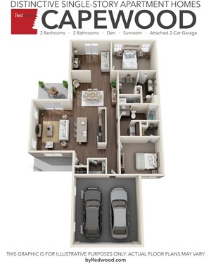 Capewood- 2 Bedroom, 2 Bathroom, Den, 2-Car Attached Garage