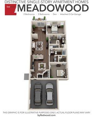 Meadowood- 2 Bedroom, 2 Bathroom, Den, 2-Car Attached Garage