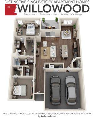 Willowood- 2 Bedroom, 2 Bathroom, Den, 2-Car Attached Garage