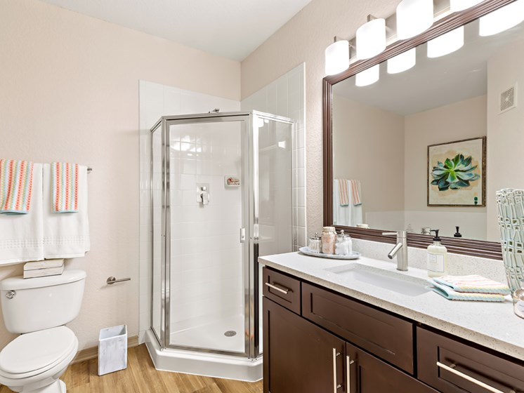 Modern Bathroom Design With Shower Enclosure at Savannah at Park Central, Florida, 32839