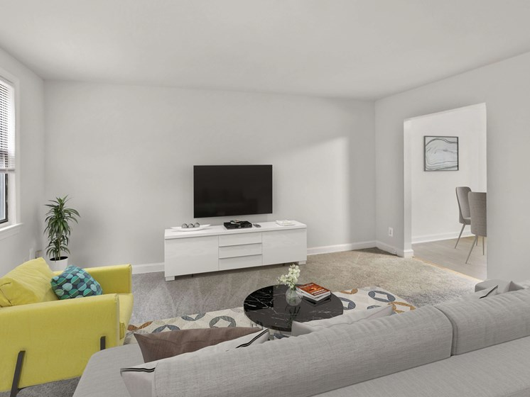 furnished living room with window light