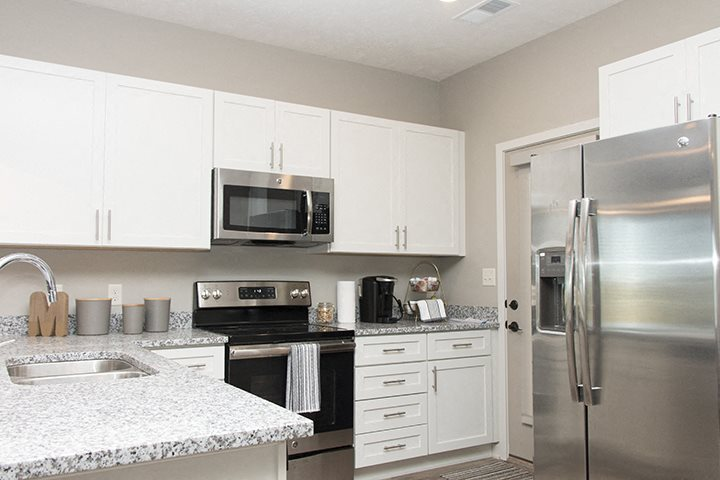 Bright white kitchens at the Villas at Mahoney Park