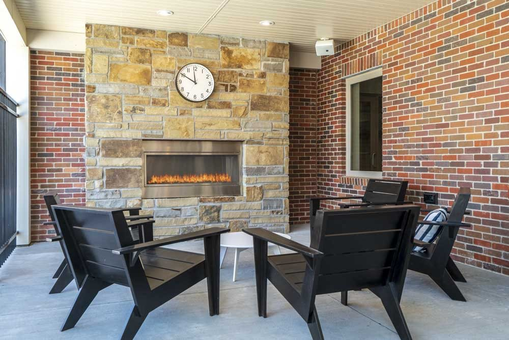 Outdoor fire place and seating at The Villas at Mahoney Park