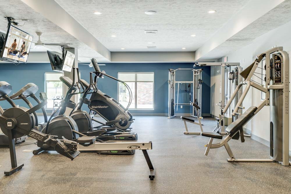 Equipment in the 24 hour fitness center at The Villas at Mahoney Park