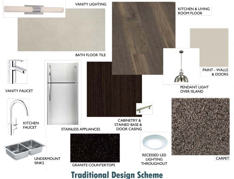 Our Traditional Design Scheme features darker cabinetry and black granite countertops.