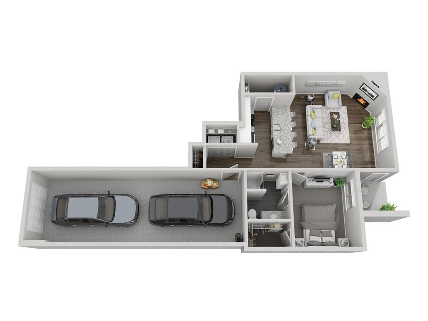 Acadia one bedroom 3D floor plan at The Villas at Mahoney Park