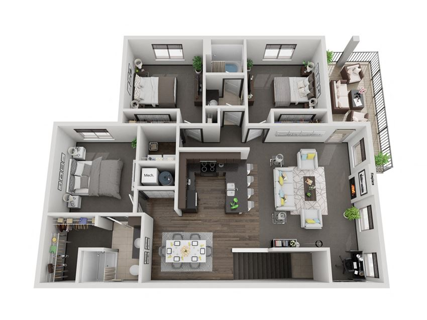Grand Canyon three bedroom 3D floor plan at The Villas at Mahoney Park - second floor
