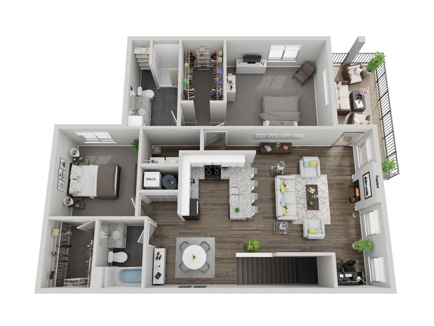 Olympic two bedroom 3D floor plan at The Villas at Mahoney Park - second floor