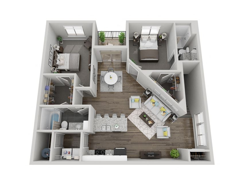Voyageurs two bedroom 3D floor plan at The Villas at Mahoney Park