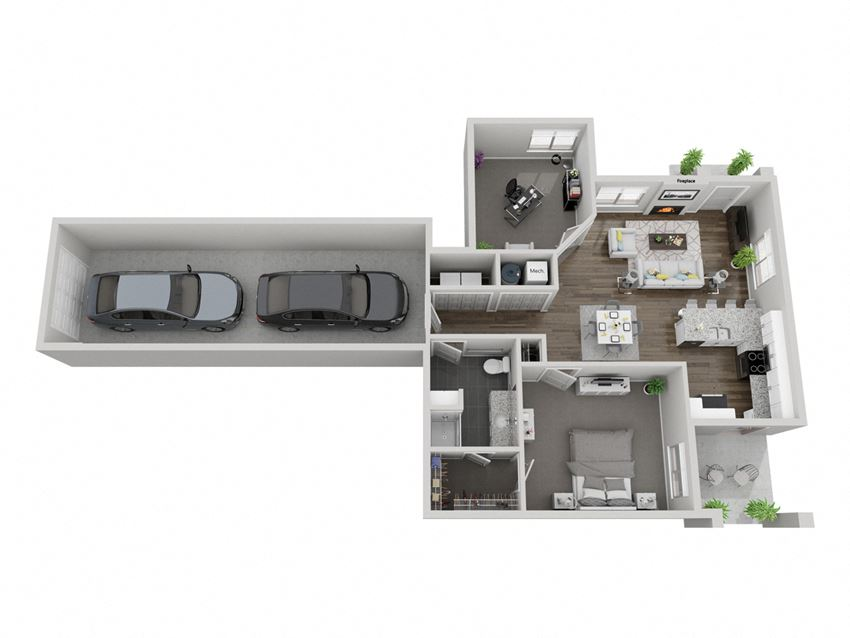 Wind Cave one bedroom with den 3D floor plan at The Villas at Mahoney Park