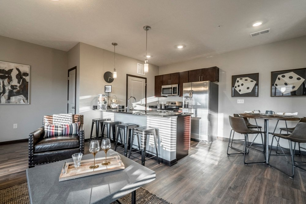 The Villas At Mahoney Park Kitchen With Granite Countertops In North Lincoln,  NE