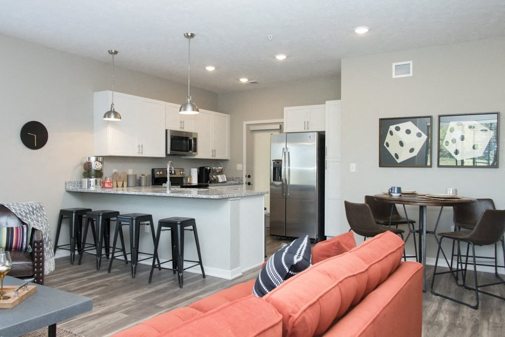 Kitchen and living room space at The Villas at Mahoney Park