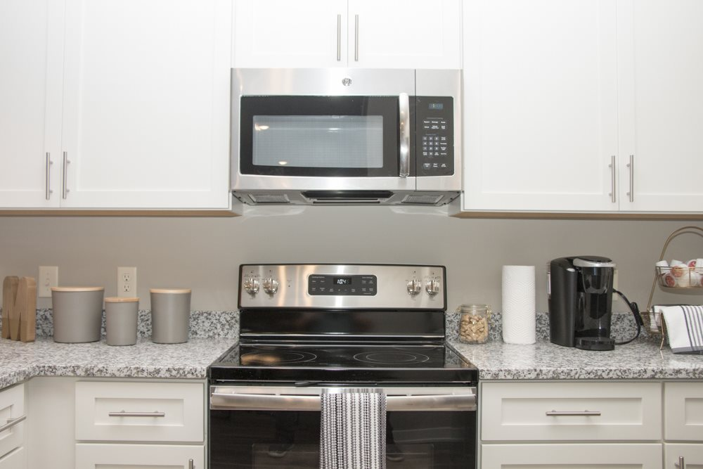 Stainless steel appliances in the kitchen at The Villas at Mahoney Park