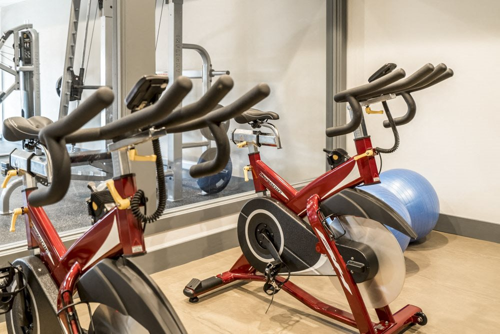 Stationary bikes in the studio at The Villas at Mahoney Park